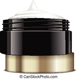Round black plastic jar with gold cap for cosmetics. Open container. Vector mockup template