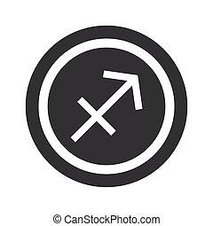 Round black Sagittarius sign