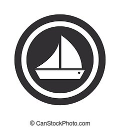 Round black ship sign