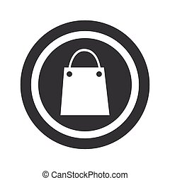 Round black shopping bag sign