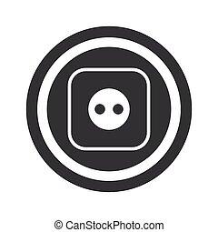 Round black socket sign - Image of socket in circle, on...