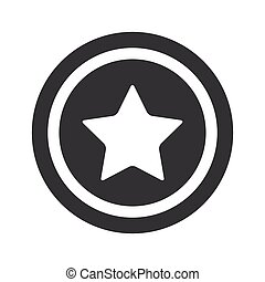 Round black star sign - Image of star in circle, on black...