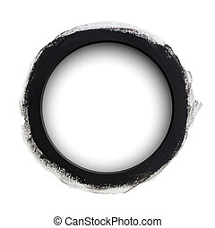 Round black watercolor banner