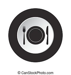 round black, white button - cutlery with plate