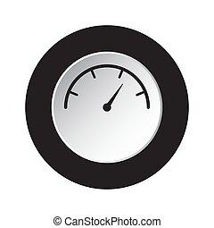 round black, white button - gauge, dial symbol
