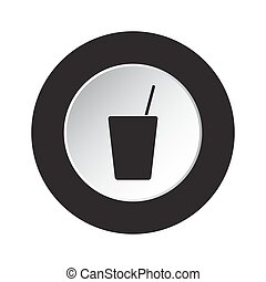 round black, white button - glass with straw icon