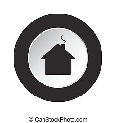 round black, white button - home with chimney icon