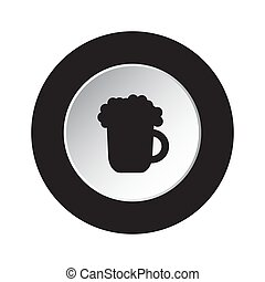 round black, white button icon - beer with foam