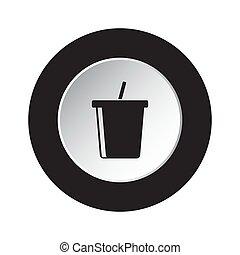 round black, white button icon - cold drink, straw