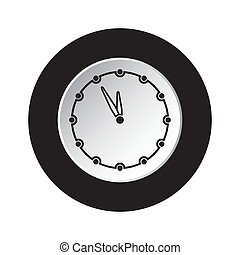 round black, white button icon - last minute clock