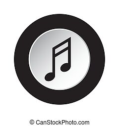 round black, white button icon - musical note