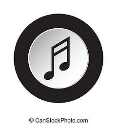 round black, white button icon - musical note