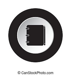 round black, white button icon-notepad with pencil