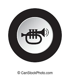 round black, white button icon - trumpet and waves