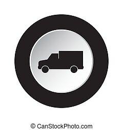 round black, white button icon - van car