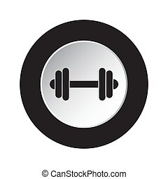 round black, white button icon with dumbbell