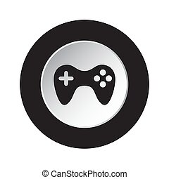 round black, white button icon with gamepad
