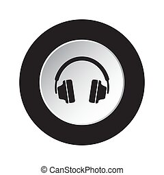 round black, white button icon with headphones
