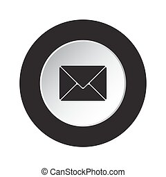 round black, white button - mailing envelope icon