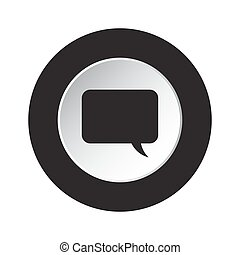 round black, white button - speech bubble icon