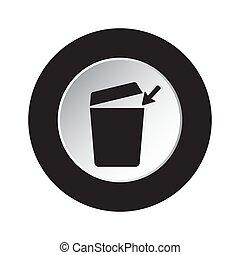 round black, white button - trashcan, arrow icon