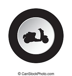 round black, white button with scooter icon