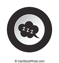 round black, white button - ZZZ speech bubble icon