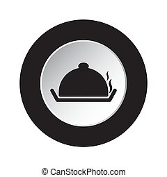 round black, white icon - serving tray with lid