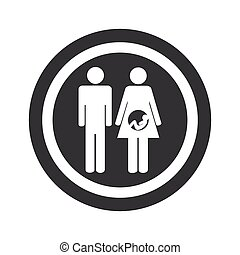 Round black young family sign - Image of man and pregnant...