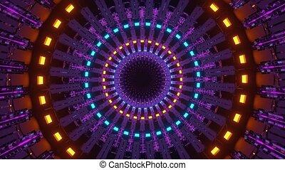 round blinking neon flares vj loop in 4k uhd 60fps