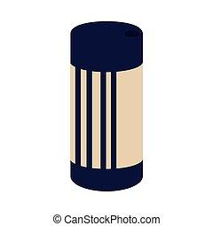 round blue and beige salt shaker on white background