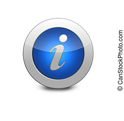 Round blue button. Information sign icon