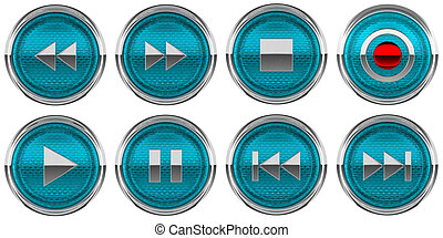 Round Blue Control icons set isolated