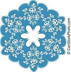 Round blue floral frame