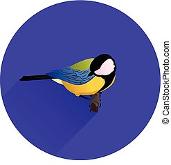 Round blue Icon for site, bird on branch,tit, flat style,