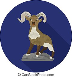 Round blue icon with the image of a mountain goat, flat style on a white background