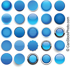 Round blue icons. - Set of blank blue round buttons for...