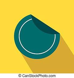 Round blue sticker icon, flat style