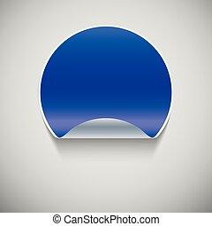 Round blue sticker.