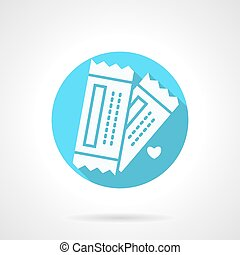 Round blue tickets for couple flat vector icon