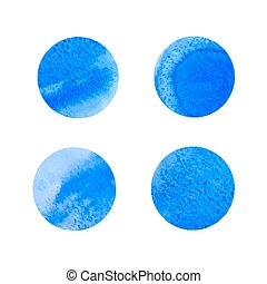 round blue watercolor stains