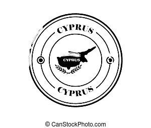 round blurry cyprus stamp