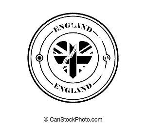 round blurry england stamp