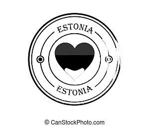 round blurry stamp of estonia