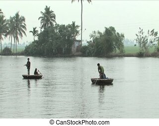 Round boats used to fish on the Backwaters of Alleppey India