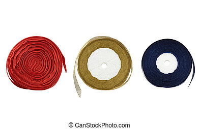 round bobbins with red, blue, golden ribbon on a white background
