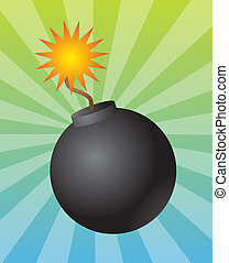 Round bomb - Old fashioned round black bomb with lit fuse