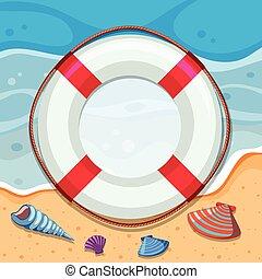Round border with seashells on beach