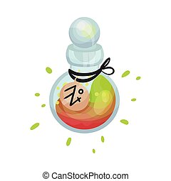 Round bottle with a potion. Vector illustration on a white background.