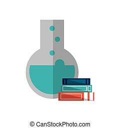 round bottom chemistry flask and books  icon